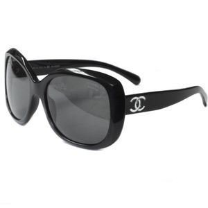 CHANEL 5183 Oversized Logo Sunglasses Black